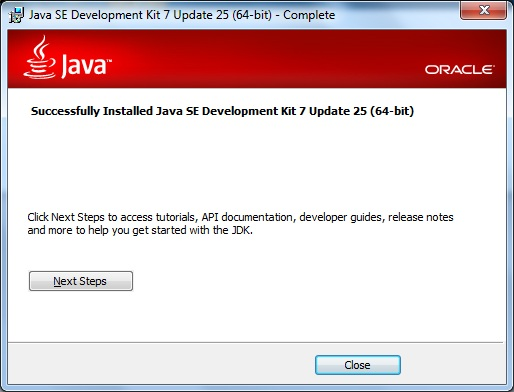 JDK successfully installed
